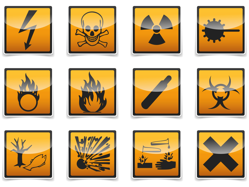 Hazard Warning Signs And Symbols Label Bar