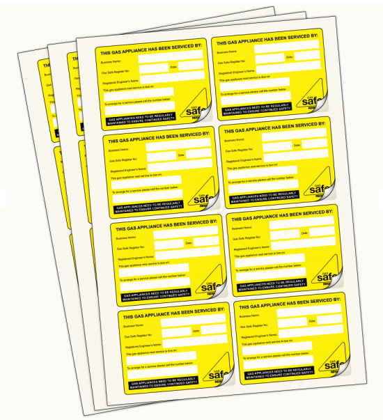 Gas Appliance Labels For Accurate Recording Of Servicing