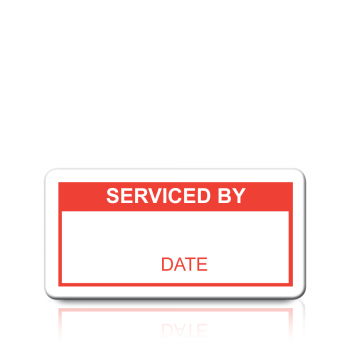 Serviced By Labels in Red