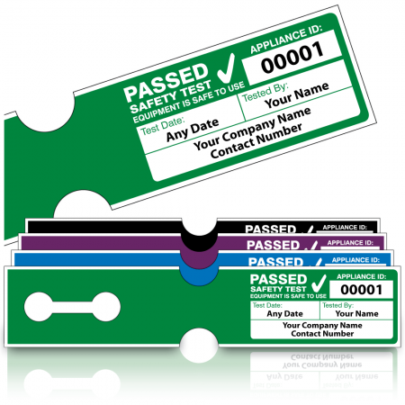 Personalised 4th Edition Tuff Tag Passed PAT Test Labels for Harsh Environments. Choice of Colours