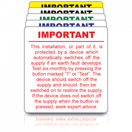(72mm x 73mm) RCD Test Labels in Black, Red, Blue, Green or Yellow