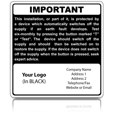 Personalised RCD Test Labels in Black