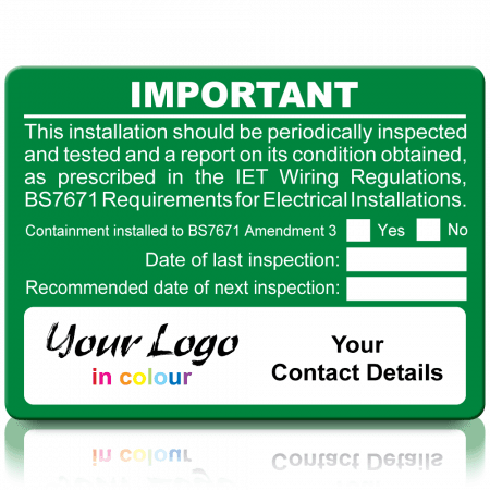 Extra Large Personalised Periodic Inspection Amendment 3 Labels in Full Colour - Green