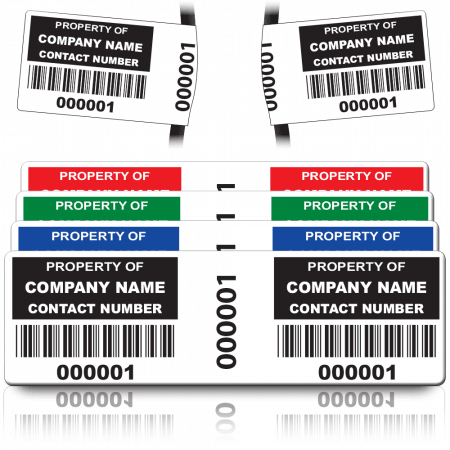 Wrap Size Asset ID Labels - Design 2. A variety of colours