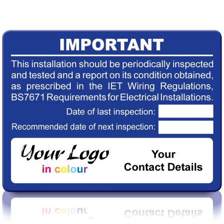 Extra Large Personalised Periodic Inspection Labels in Full Colour - Dark Blue