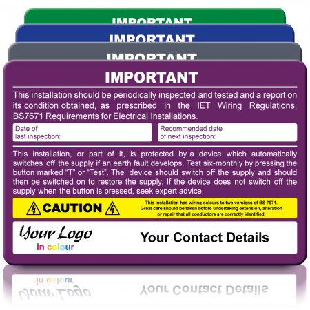 Periodic Inspection (EICR) & RCD Test Duo Labels - Design 1. Choice of Colours. 155mm x 100mm