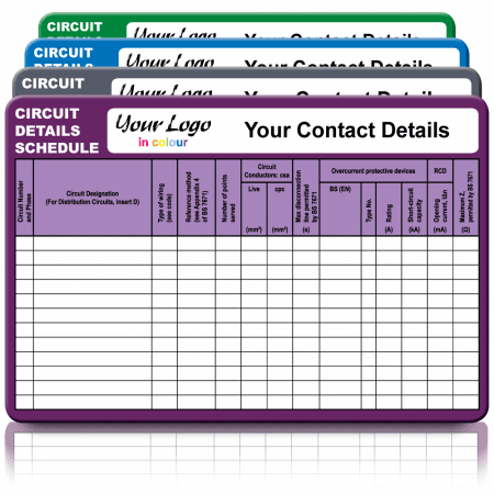 Extra Large Circuit Details Labels in Full Colour - Choice of Colours. 155mm x 100mm