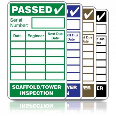 Scaffold/Tower Inspection Labels. Choice of colours