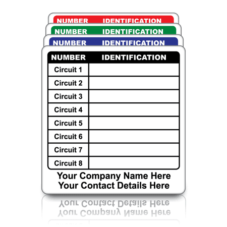 Personalised Circuit ID Labels. Choice of colours
