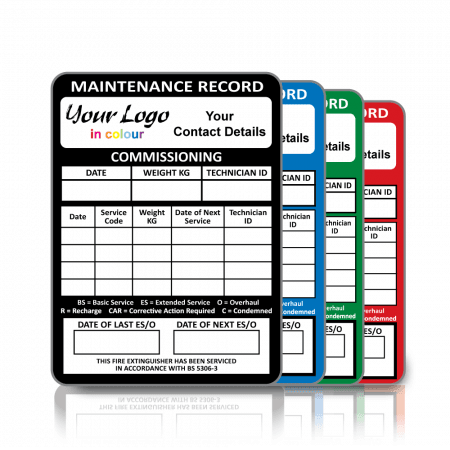Full Colour BS 5306 Personalised Fire Extinguisher Maintenance Labels. Choice of colours