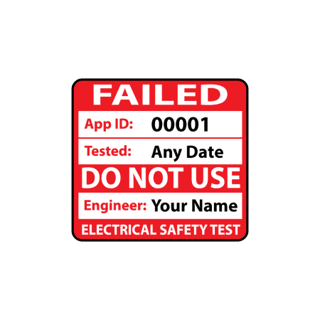 Personalised Plug Top Failed PAT Test Labels for Portable Appliance Testing