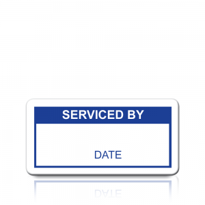 Serviced By Labels in Blue