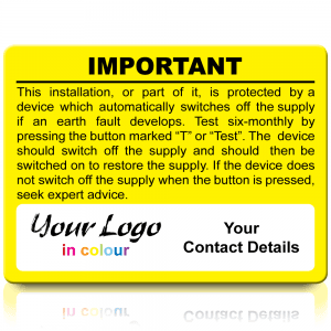 Extra Large Personalised RCD Test Labels in Full Colour - Yellow