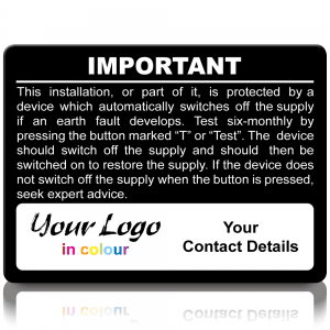 Extra Large Personalised RCD Test Labels in Full Colour - Black