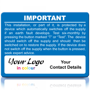 Extra Large Personalised RCD Test Labels in Full Colour - Blue