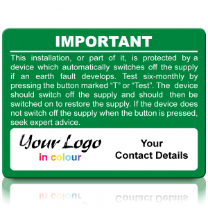 Extra Large Personalised RCD Test Labels in Full Colour - Green