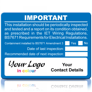 Extra Large Personalised Periodic Inspection Amendment 3 Labels in Full Colour - Blue