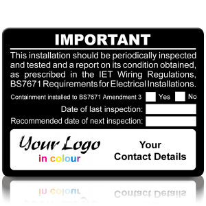 Extra Large Personalised Periodic Inspection Amendment 3 Labels in Full Colour - Black