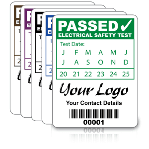 Custom PAT Test Labels - Design 2. Variety of colours