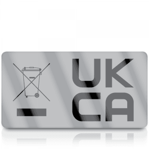 Silver Standard WEEE & UKCA Labels for UKCA Marking & Electronic Waste Disposal