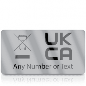 Personalised Silver Standard WEEE & UKCA Labels for UKCA Marking & Electronic Waste Disposal