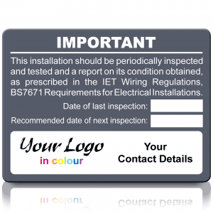 Extra Large Personalised Periodic Inspection Labels in Full Colour - Grey