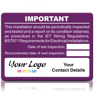 Extra Large Personalised Periodic Inspection Labels in Full Colour - Purple