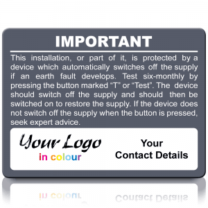 Extra Large Personalised RCD Test Labels in Full Colour - Grey