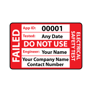 Personalised Medium Failed PAT Test Labels for Portable Appliance Testing