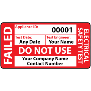 Personalised Standard Failed PAT Test Labels for Portable Appliance Testing