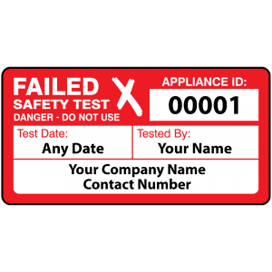 Personalised 4th Edition Failed PAT Test Labels in Red