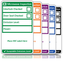 Microwave Inspection Labels. Choice of Colours