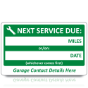 Large Personalised Next Service Due Labels. Choice of Colours