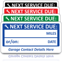 Personalised Next Service Due Labels. Choice of Colours