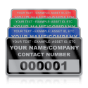 Silver Small Size Asset ID Labels - Design 1. Variety of Colours