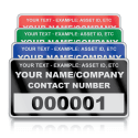 Heavy Duty Small Size Asset ID Labels - Design 1. Variety of Colours