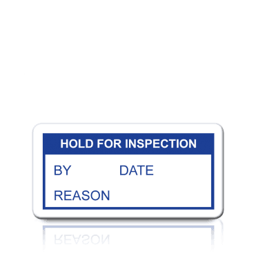 Hold For Inspection Labels in Blue