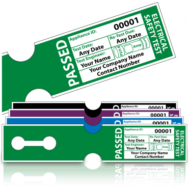 Personalised Tuff Tag Passed PAT Test Labels for Harsh Environments. Choice of Colours