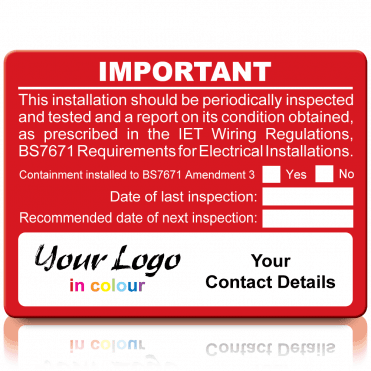 Extra Large Personalised Periodic Inspection Amendment 3 Labels in Full Colour - Red