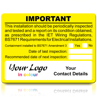 Extra Large Personalised Periodic Inspection Amendment 3 Labels in Full Colour - Yellow