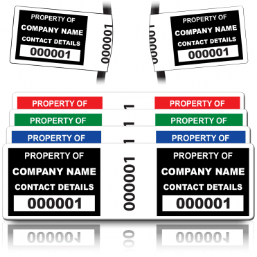 Wrap Size Asset ID Labels - Design 1. A variety of colours