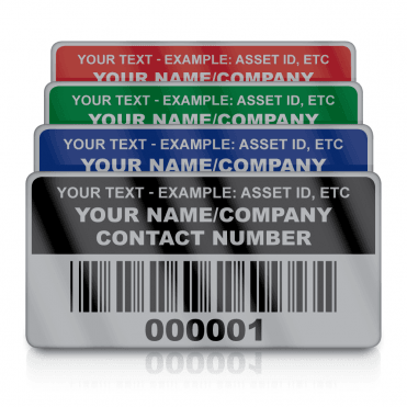 Silver Small Size Asset ID Labels - Design 2. Variety of Colours