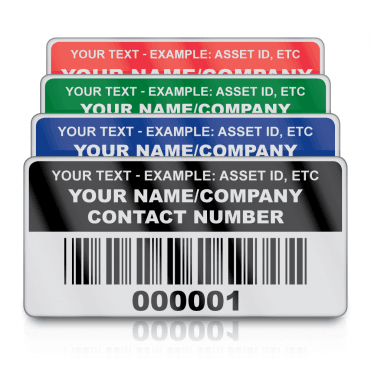 Heavy Duty Small Size Asset ID Labels - Design 2. Variety of Colours